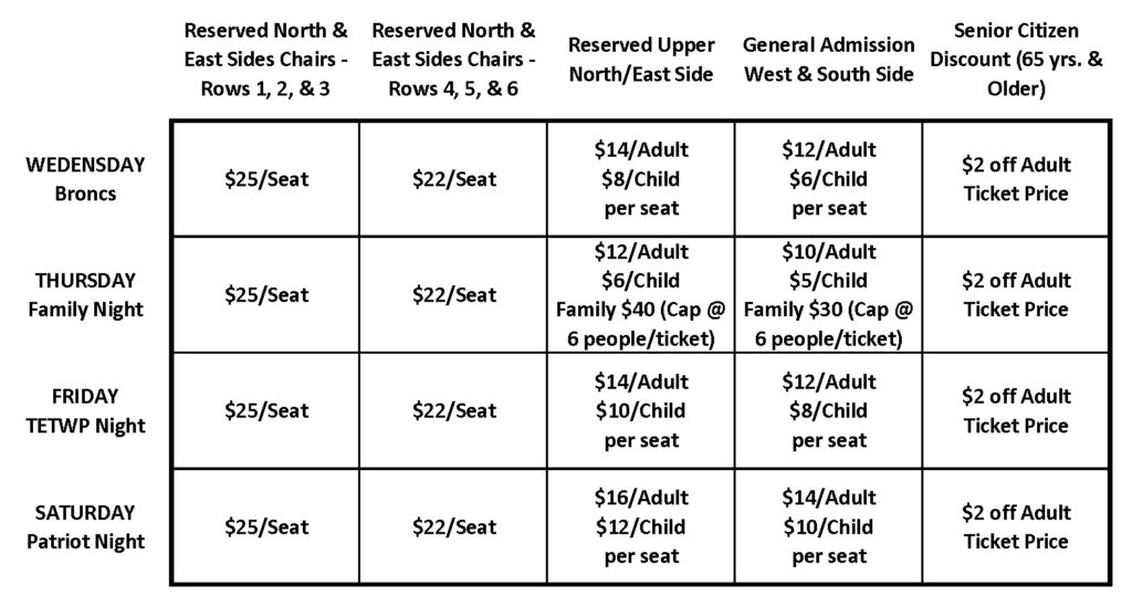 Golden Spike Rodeo Ticket Prices